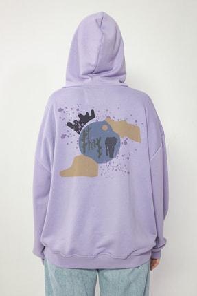 Maken Merry Unisex Özel Tasarım Chaos Lila Oversize Kapüşonlu Sweatshirt 2
