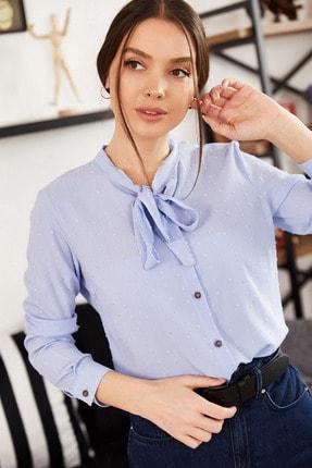تصویر از Kadın Bebe Mavi Yakası Bağlamalı Desenli Gömlek ARM-20K001150