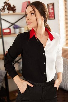 armonika Kadın Siyah Bloklu Uzun Kollu Gömlek ARM-21K001103 1