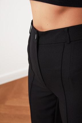 TRENDYOLMİLLA Siyah Yüksek Bel Nervür Dikişli Pantolon TWOSS21PL0093 3