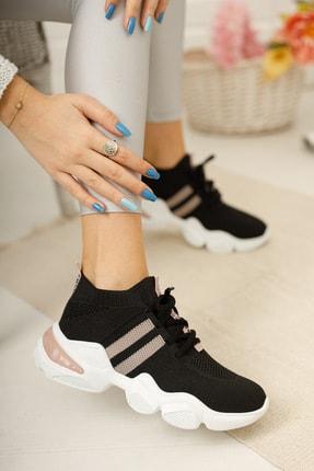 meyra'nın ayakkabıları Kadın Siyah Pudra Triko Sneaker 2