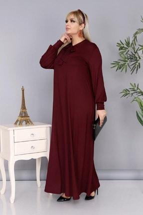 Şirin Butik Kadın Büyük Beden Bordo Renk Kravat Yaka Detaylı Viskon Elbise 2