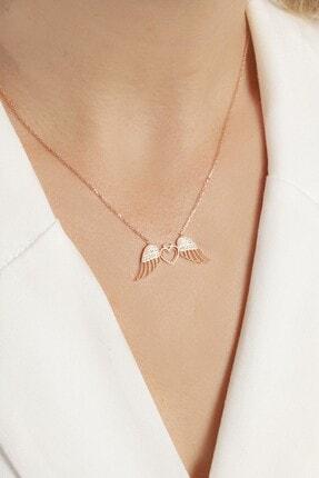 Şimal Silver 925 Ayar Gümüş Rose Kaplama Kalpli Melek Kanadı Kolye 2