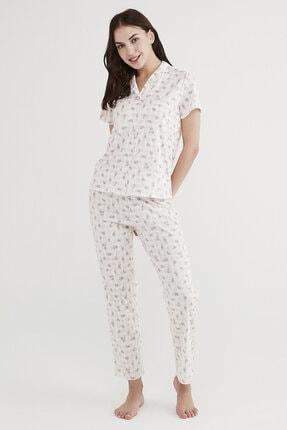 Penti Kadın Beyaz Çiçekli Pijama Takımı 1