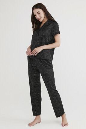 Penti Kadın Siyah Minimal Dark Saten Pijama Takımı 1