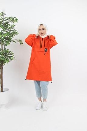 Esvet Kadın Oranj Tesettür Fermuar Detaylı Kanguru Cepli Kapüşonlu Sweatshirt Arma Detaylı 0