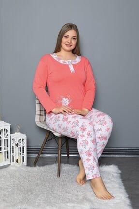 Sude Kadın Pembe Uzun Kollu Likralı Penye Pijama Takımı 1