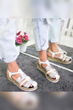 Limoya Tinsley Beyaz Gümüş Kalın Hasır Tabanlı Hakiki Deri Sandalet 4
