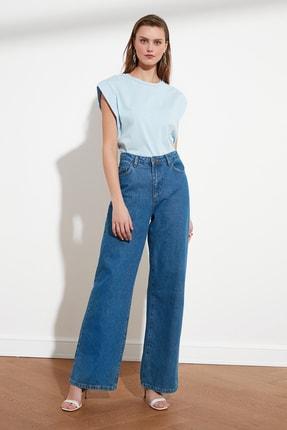 TRENDYOLMİLLA Mavi Kolsuz Basic Örme T-Shirt TWOSS20TS0021 1
