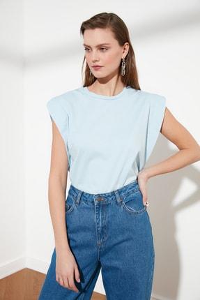 TRENDYOLMİLLA Mavi Kolsuz Basic Örme T-Shirt TWOSS20TS0021 2