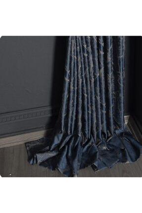 EKİN HOME COLLECTİON Sık Pile Granit Jakar Dokulu Fon Perde Mavi Gri Tek Kanat 2