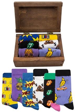 Socksarmy Pow, Retro Tv, Muz, Ananas Desenli Ahşap Kutulu 6 'lı Çorap Seti 0