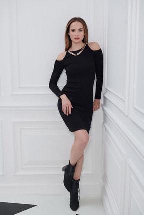 Kadın Siyah Omuz Dekolteli Kolyeli Fitilli Elbise 4593