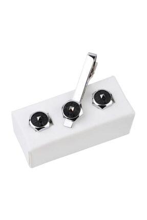 Kravatkolik Gümüş Renk Kol Düğmesi Ve Kravat Iğnesi Set Kd965 0