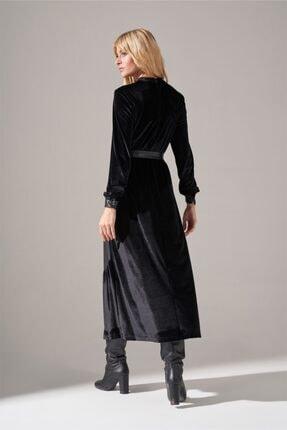 Mizalle Deri Detaylı Kadife Elbise (Siyah) 4
