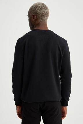 Defacto Erkek Siyah Bisiklet Yaka Regular Fit Basic Sweatshirt 3