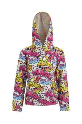 Defacto Kız Çocuk Popart Baskı Desenli Kapüşonlu Sweatshirt 0