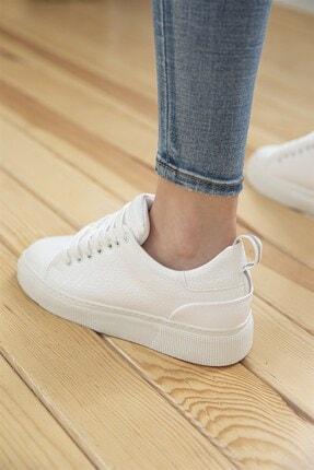 Straswans Kadın Rugan Spor Ayakkabı Beyaz 1