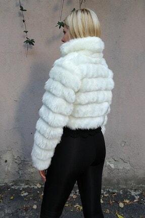 Keyifli Moda Kadın Beyaz Kürk Uzun Kollu Bolero 2