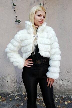 Keyifli Moda Kadın Beyaz Kürk Uzun Kollu Bolero 3