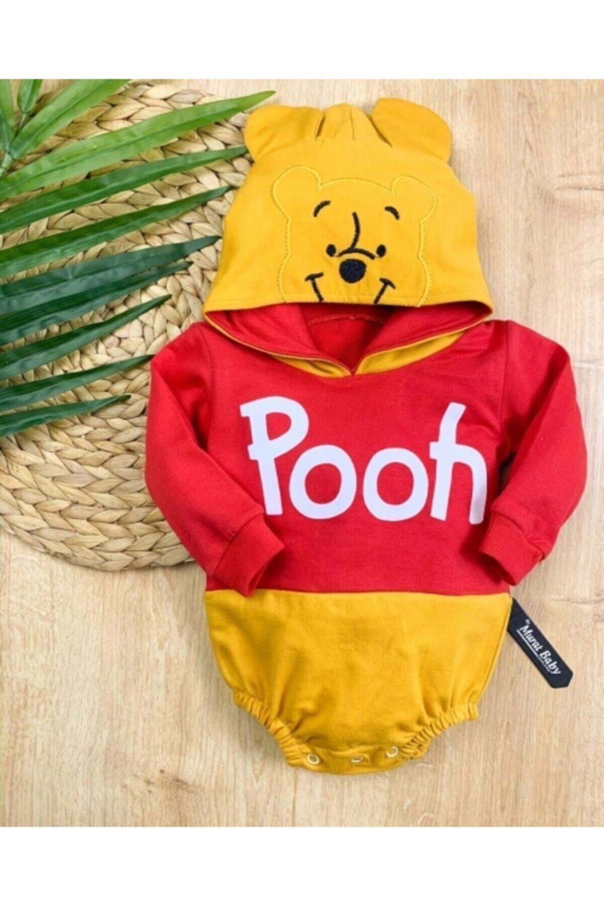Erkek Bebek Winnie The Pooh Kapşonlu Çıtçıtlı Sweatshirt Çıtçıtbody
