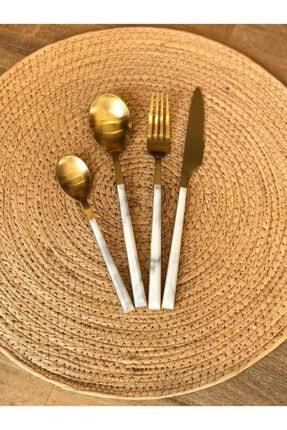 The Mia Beyaz Altın Mermer Desen 24 Parça Çatal Kaşık Bıçak Seti 1
