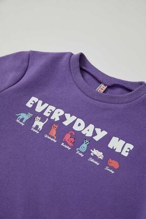 Defacto Kız Çocuk Yazı Baskılı Selanik Kumaş Sweatshirt 2