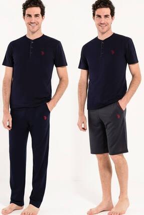 US Polo Assn Erkek Lacivert 1 Kısa Kollu Pijama ve 1 Şort 0