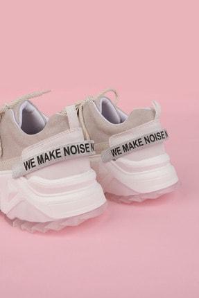 Marjin Kadın Beyaz Sneaker Dolgu Topuklu Spor Ayakkabı Cakir 1