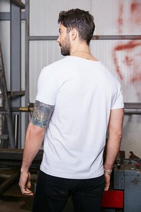 Sateen Men Erkek Beyaz Kısa Kol V Yaka T-Shirt 2