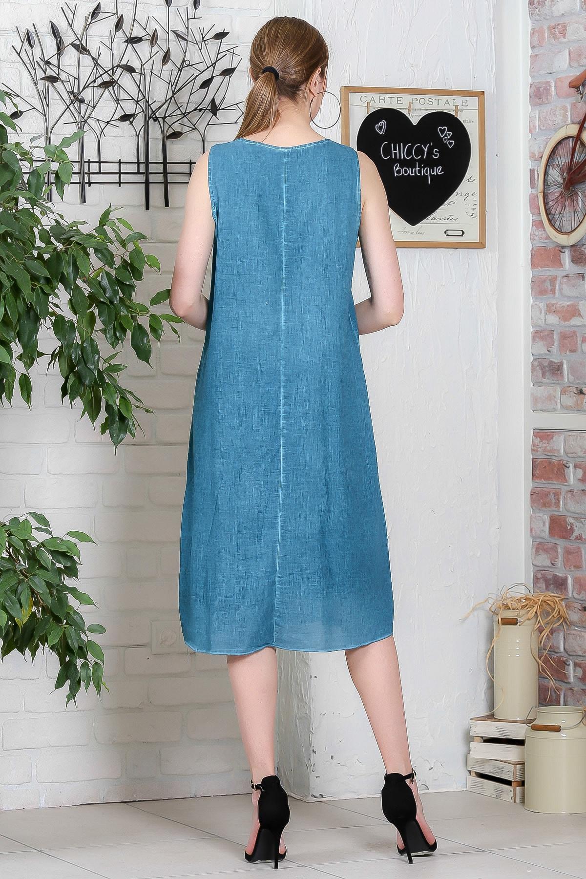 Chiccy Kadın Petrol Mavisi Dantel Yaka Tülbent Etek Ucu Bloklu Ponponlu Astarlı Elbise M10160000EL95300