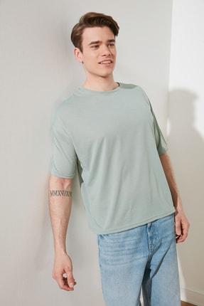 TRENDYOL MAN Mint Basic Erkek Bisiklet Yaka Oversize Kısa Kollu T-Shirt TMNSS21TS0811 1