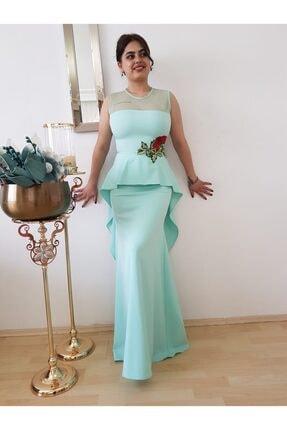 Kadın Su Yeşili Peplum Abiye Elbise FERO0000923