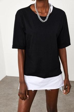 Xena Kadın Siyah Yakası & Eteği Garnili Salaş T-Shirt 1KZK1-11558-02 1