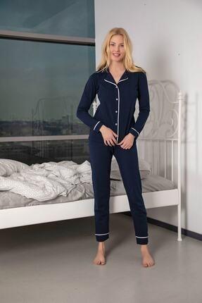 Huq Moda Kadın Lacivert Ekru Pamuklu Likralı Düğmeli Biyeli Pijama Takımı 3
