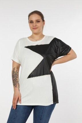 Womenice Kadın Beyaz Önü Derili Yıldız Taşlı Büyük Beden Bluz 3