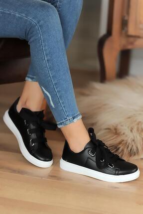 Hediyem Sende Kadın Siyah Kalın Bağcıklı Günlük Casual Ayakkabı 1