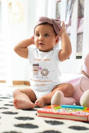 Babydonat Kız Bebek Beyaz I Love You Donat Desenli Kısa Kol Body 1