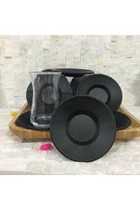 Cosargroup 6 Adet Mat Siyah Metal Çay Tabağı 3