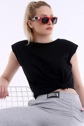 ARYA FASHION Kadın Siyah Özel Tasarım Yuvarlak Yaka Kolsuz Bol Kesim Şık Vatkalı Bluz 1