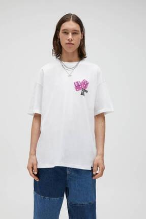 Pull & Bear Erkek Beyaz Zar Görselli T-shirt 0