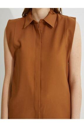 Koton Kadın Kahverengi Kolsuz Gömlek 4