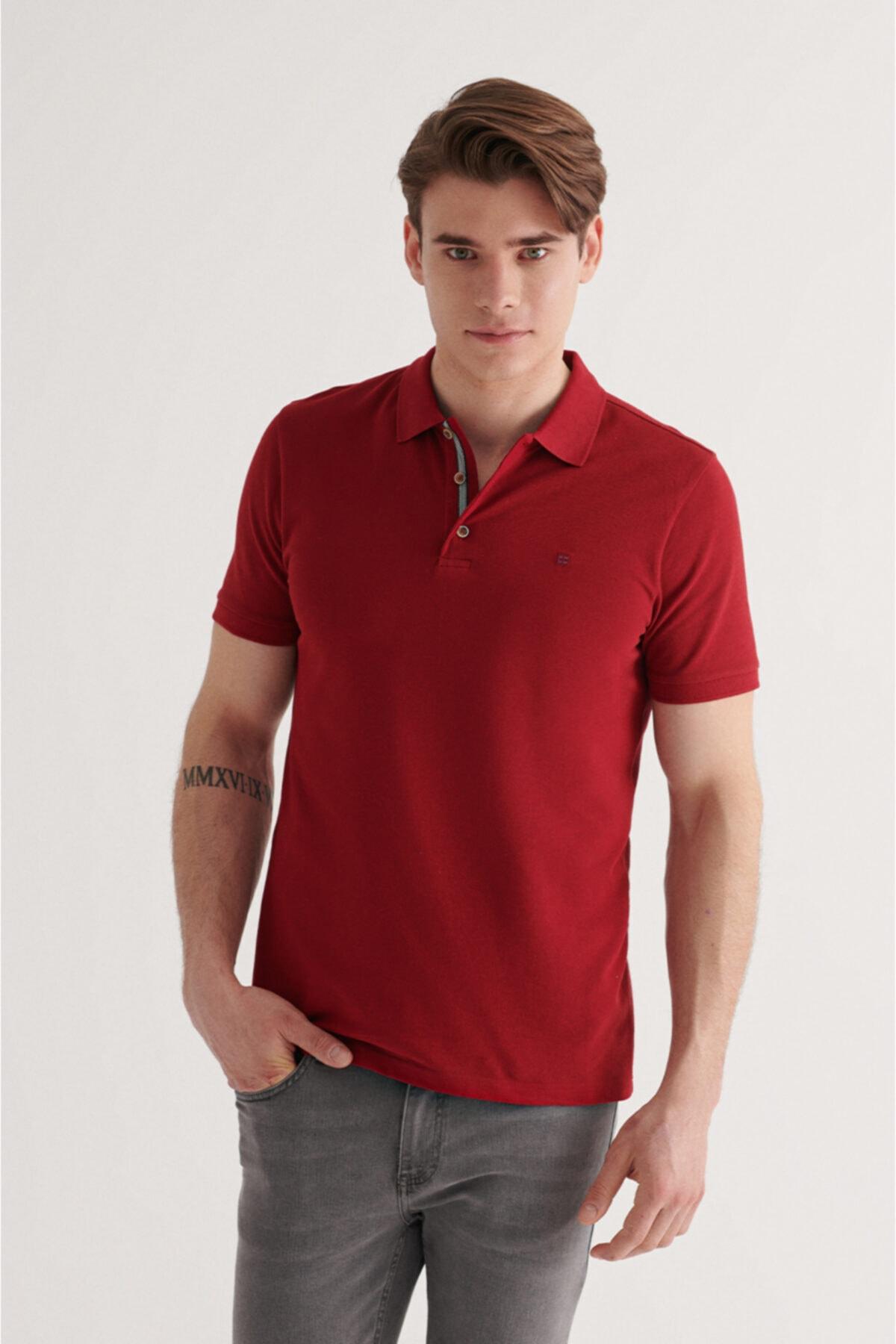 Erkek Bordo Polo Yaka Düz T-shirt A11b1174