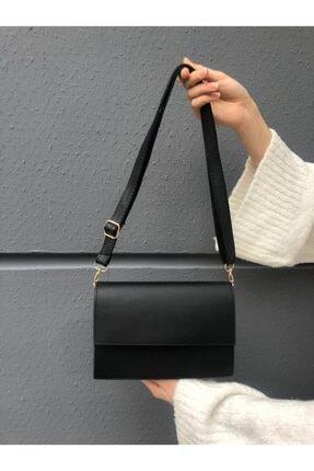 SWAN BOUTIQUE Kadın Siyah Kapaklı Çapraz Askılı Çanta 1