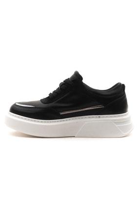 GRADA Kadın Siyah Hakiki Deri Bağcıklı Spor Sneaker Ayakkabı 3