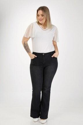 E Collection Ispanyol Paça Likralı Büyük Beden Jeans Pantolon 1