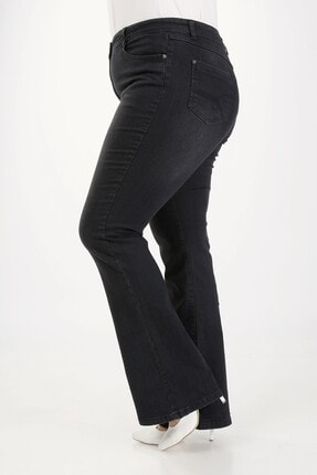 E Collection Ispanyol Paça Likralı Büyük Beden Jeans Pantolon 4