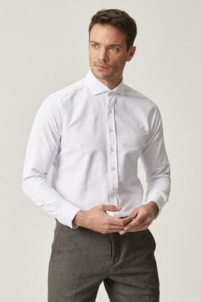 Altınyıldız Classics Erkek Beyaz Tailored Slim Fit Dar Kesim İtalyan Yaka Armürlü Gömlek 1