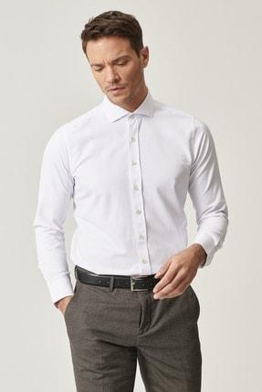 Altınyıldız Classics Erkek Beyaz Tailored Slim Fit Dar Kesim İtalyan Yaka Armürlü Gömlek 2