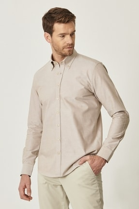 Altınyıldız Classics Erkek Kahverengi Tailored Slim Fit Dar Kesim Düğmeli Yaka %100 Koton Gömlek 2